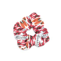 Rose Flower Red Orange Velvet Scrunchie