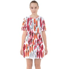 Rose Flower Red Orange Sixties Short Sleeve Mini Dress