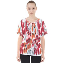 Rose Flower Red Orange V Neck Dolman Drape Top