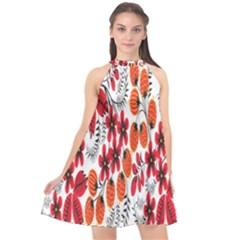 Rose Flower Red Orange Halter Neckline Chiffon Dress