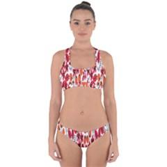 Rose Flower Red Orange Cross Back Hipster Bikini Set