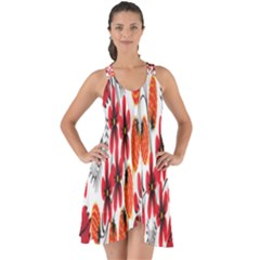 Rose Flower Red Orange Show Some Back Chiffon Dress
