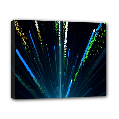 Seamless Colorful Blue Light Fireworks Sky Black Ultra Canvas 10  X 8