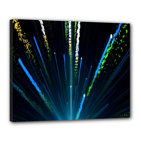 Seamless Colorful Blue Light Fireworks Sky Black Ultra Canvas 20  X 16