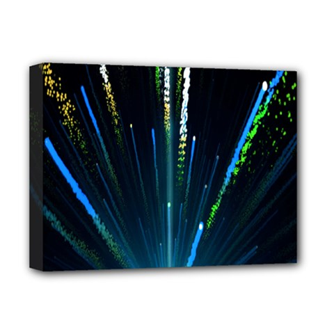 Seamless Colorful Blue Light Fireworks Sky Black Ultra Deluxe Canvas 16  X 12