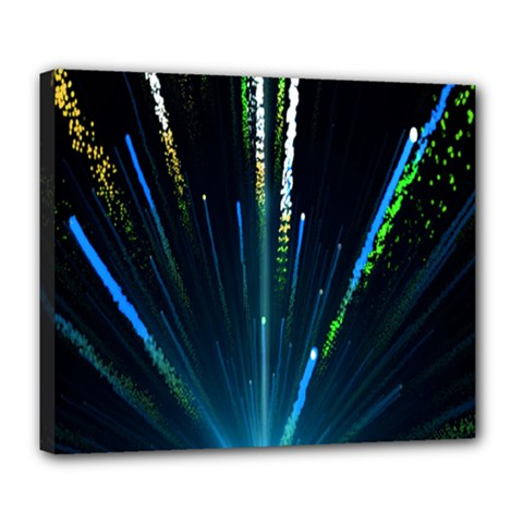 Seamless Colorful Blue Light Fireworks Sky Black Ultra Deluxe Canvas 24  X 20