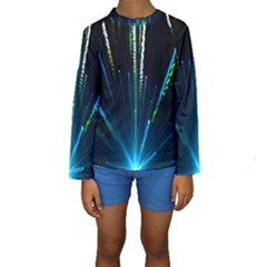Seamless Colorful Blue Light Fireworks Sky Black Ultra Kids  Long Sleeve Swimwear