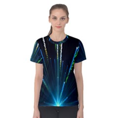 Seamless Colorful Blue Light Fireworks Sky Black Ultra Women s Cotton Tee