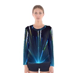 Seamless Colorful Blue Light Fireworks Sky Black Ultra Women s Long Sleeve Tee
