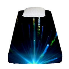 Seamless Colorful Blue Light Fireworks Sky Black Ultra Fitted Sheet (single Size)