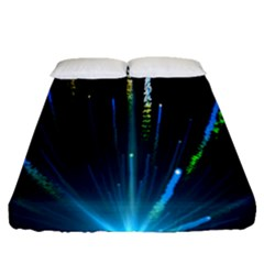 Seamless Colorful Blue Light Fireworks Sky Black Ultra Fitted Sheet (queen Size)