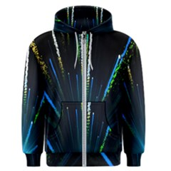 Seamless Colorful Blue Light Fireworks Sky Black Ultra Men s Zipper Hoodie