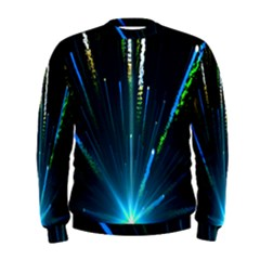 Seamless Colorful Blue Light Fireworks Sky Black Ultra Men s Sweatshirt