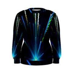 Seamless Colorful Blue Light Fireworks Sky Black Ultra Women s Sweatshirt