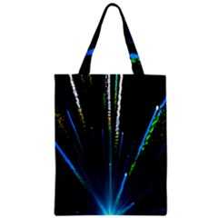 Seamless Colorful Blue Light Fireworks Sky Black Ultra Zipper Classic Tote Bag