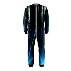 Seamless Colorful Blue Light Fireworks Sky Black Ultra Onepiece Jumpsuit (kids)