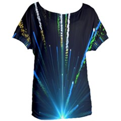 Seamless Colorful Blue Light Fireworks Sky Black Ultra Women s Oversized Tee