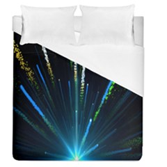 Seamless Colorful Blue Light Fireworks Sky Black Ultra Duvet Cover (queen Size)