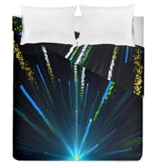 Seamless Colorful Blue Light Fireworks Sky Black Ultra Duvet Cover Double Side (queen Size)