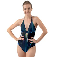 Seamless Colorful Blue Light Fireworks Sky Black Ultra Halter Cut Out One Piece Swimsuit