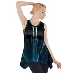 Seamless Colorful Blue Light Fireworks Sky Black Ultra Side Drop Tank Tunic