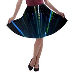 Seamless Colorful Blue Light Fireworks Sky Black Ultra A Line Skater Skirt