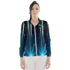 Seamless Colorful Blue Light Fireworks Sky Black Ultra Wind Breaker (women)