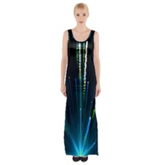 Seamless Colorful Blue Light Fireworks Sky Black Ultra Maxi Thigh Split Dress