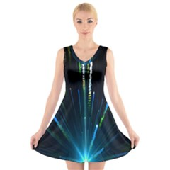 Seamless Colorful Blue Light Fireworks Sky Black Ultra V Neck Sleeveless Skater Dress