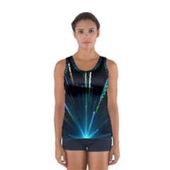 Seamless Colorful Blue Light Fireworks Sky Black Ultra Sport Tank Top
