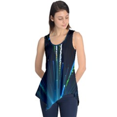 Seamless Colorful Blue Light Fireworks Sky Black Ultra Sleeveless Tunic