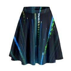Seamless Colorful Blue Light Fireworks Sky Black Ultra High Waist Skirt
