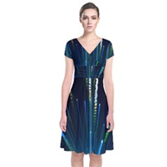 Seamless Colorful Blue Light Fireworks Sky Black Ultra Short Sleeve Front Wrap Dress