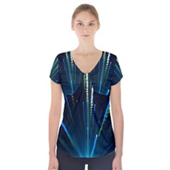 Seamless Colorful Blue Light Fireworks Sky Black Ultra Short Sleeve Front Detail Top