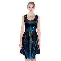 Seamless Colorful Blue Light Fireworks Sky Black Ultra Racerback Midi Dress
