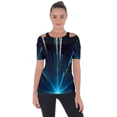 Seamless Colorful Blue Light Fireworks Sky Black Ultra Short Sleeve Top