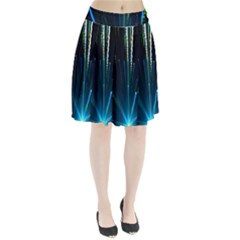 Seamless Colorful Blue Light Fireworks Sky Black Ultra Pleated Skirt