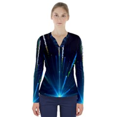 Seamless Colorful Blue Light Fireworks Sky Black Ultra V Neck Long Sleeve Top