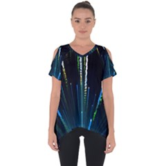 Seamless Colorful Blue Light Fireworks Sky Black Ultra Cut Out Side Drop Tee