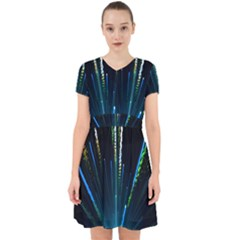 Seamless Colorful Blue Light Fireworks Sky Black Ultra Adorable In Chiffon Dress