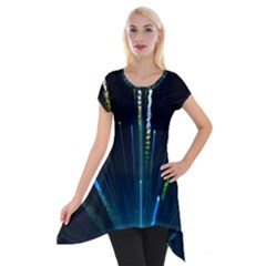 Seamless Colorful Blue Light Fireworks Sky Black Ultra Short Sleeve Side Drop Tunic