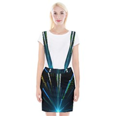 Seamless Colorful Blue Light Fireworks Sky Black Ultra Braces Suspender Skirt