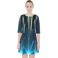 Seamless Colorful Blue Light Fireworks Sky Black Ultra Pocket Dress