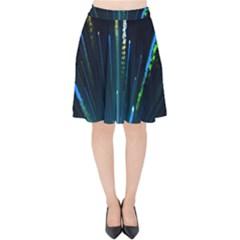 Seamless Colorful Blue Light Fireworks Sky Black Ultra Velvet High Waist Skirt