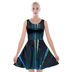 Seamless Colorful Blue Light Fireworks Sky Black Ultra Velvet Skater Dress