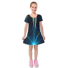 Seamless Colorful Blue Light Fireworks Sky Black Ultra Kids  Short Sleeve Velvet Dress