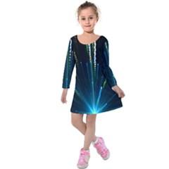 Seamless Colorful Blue Light Fireworks Sky Black Ultra Kids  Long Sleeve Velvet Dress