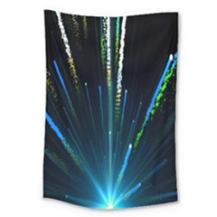 Seamless Colorful Blue Light Fireworks Sky Black Ultra Large Tapestry