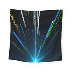 Seamless Colorful Blue Light Fireworks Sky Black Ultra Square Tapestry (small)