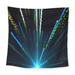 Seamless Colorful Blue Light Fireworks Sky Black Ultra Square Tapestry (large)